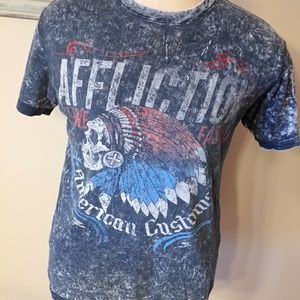 Reversible Affliction T-Shirt Indian Skull - Flag